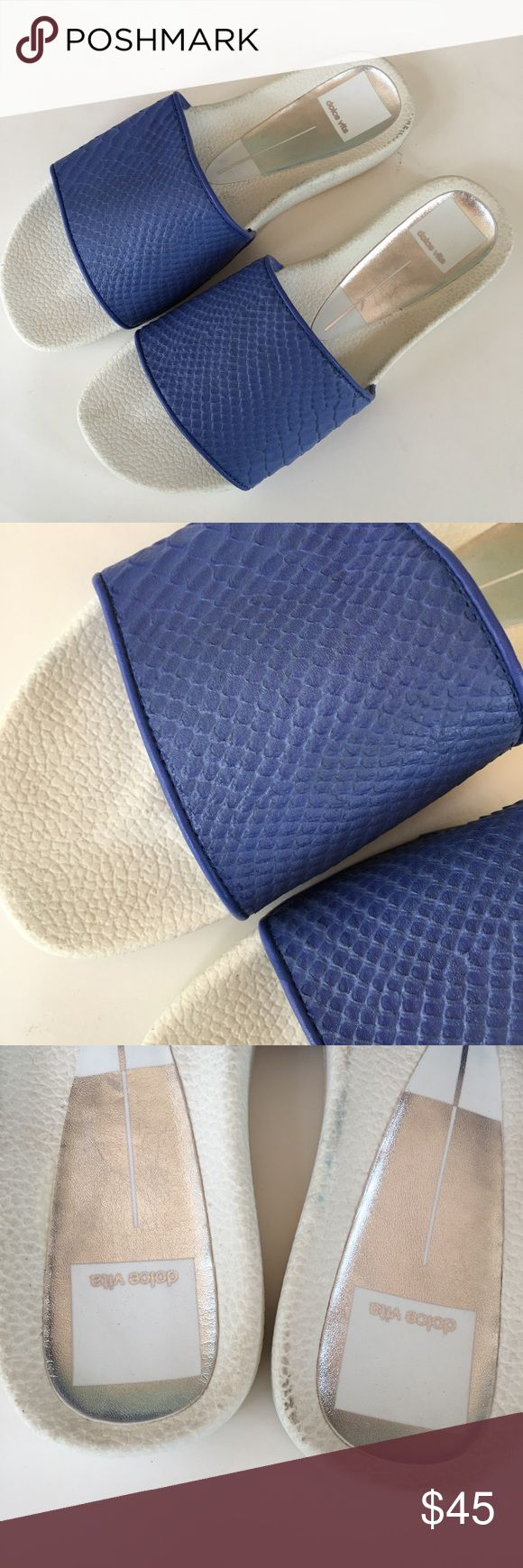 """NEW DOLCE VITA sport comfort slide sandal blue 6.5 New with tags in box. Embossed leather upper, textile lining, manmade balance. Insole measures 9.5"""" long and 3.5"""" wide shoes have some box wear and from having been tried on at the shoe store. Please visit my closet for over 800 new w tags items from all categories, many styles and sizes. Great bundling opportunities!!! Retail $109 Dolce Vita Shoes Sandals"""