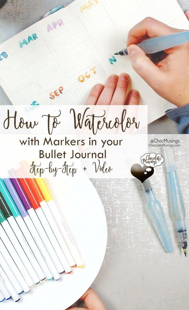 How To Watercolor Paint With Markers In Your Bullet Journal