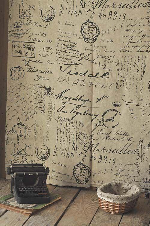 Wholesale ZAKKA linen cotton fabric  home textile DIY cloth Black letters Printed 1 meter 155cm x 100cm