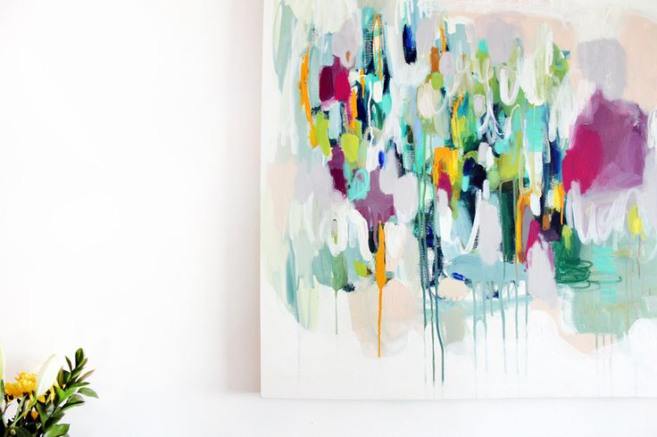 """See the movement and rhythm in """"Memphis"""" ? I was practically dancing when I created this electric piece and used oil sticks, Krink, and acrylics to make it happen."""