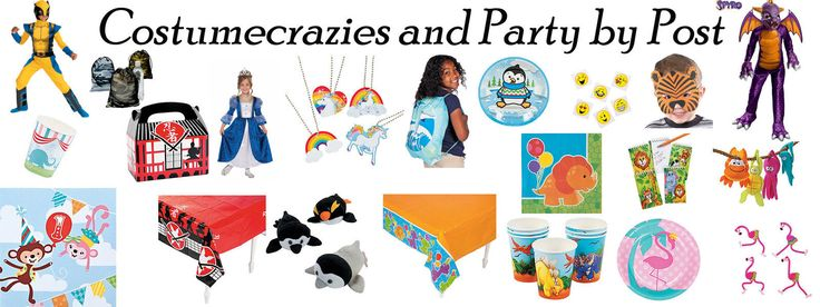 Party by Post Themed Party Supplies including Tablecovers, Favours and Party Goods