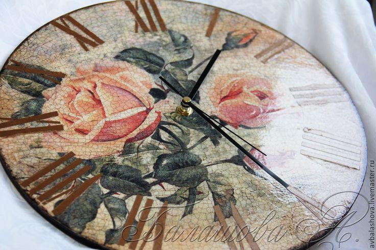 """Купить Часы """"Винтажные розы"""" Единственный экземляр - часы с розами, винтажные розы, ретро часы"""