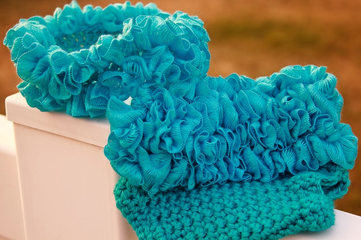 Turquoise Ruffles Diaper Cover and Headband Set. $20.00, via Etsy.