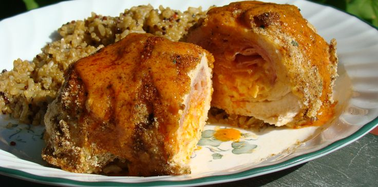 Buffalo Chicken Cordon Bleu    Ingredients    2 skinless, boneless Chicken Breast halves  A couple slices of Ham  1/4 lb of Cheese (Swiss or Cheddar)  Bread Crumbs  Salt and Pepper  Chipotle Powder (optional)  Buffalo Wing Sauce  4 Tbsp Frank's Hot Sauce  2 Tbsp butter/margarine  Onion Powder  Pepper