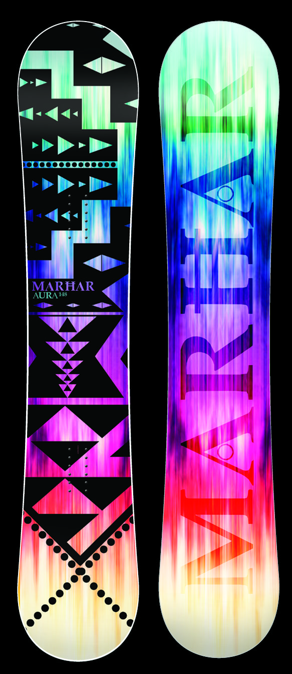 AURA [All Terrain Queen] This Queen of the mountain features our Rocker profile with a flex pattern perfect for a balanced all terrain freestyle deck. The Aura has surfy and smooth edge to edge transitions with serious edge hold from the Attack Arc sidecut. This versatile board does it all from park to powder to groomers. It has power, stability, and pop with the perfect amount of flex for the serious lady rider looking for a one quiver board. #marhar #snowboards #sport #deck #design…