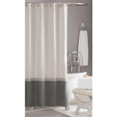 LOVE this curtain - pulls in the grey without being dark  - Wamsutta® Greek Key Hotel Shower Curtain - BedBathandBeyond.com