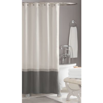 LOVE this curtain - pulls in the grey without being dark  - Wamsutta® Greek Key Hotel Shower Curtain - BedBathandBeyond.com