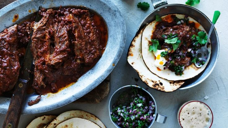 Stout-braised short rib tacos with red onion salsa