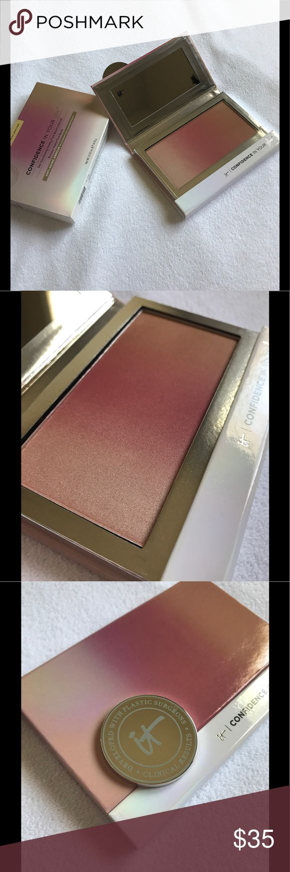 """MAKE AN OFFER! Confidence in your glow Confidence in Your Glow™  IT'S YOUR BLUSH, BRONZER AND HIGHLIGHTER IN ONE SWEEP! Skin-Transforming Healthy Flush Blushing Bronzer..... COLOR: """"Instant Natural Glow""""....... (NOT FINAL PRICE!!! Priced to receive offers!) It Cosmetics Makeup Bronzer"""