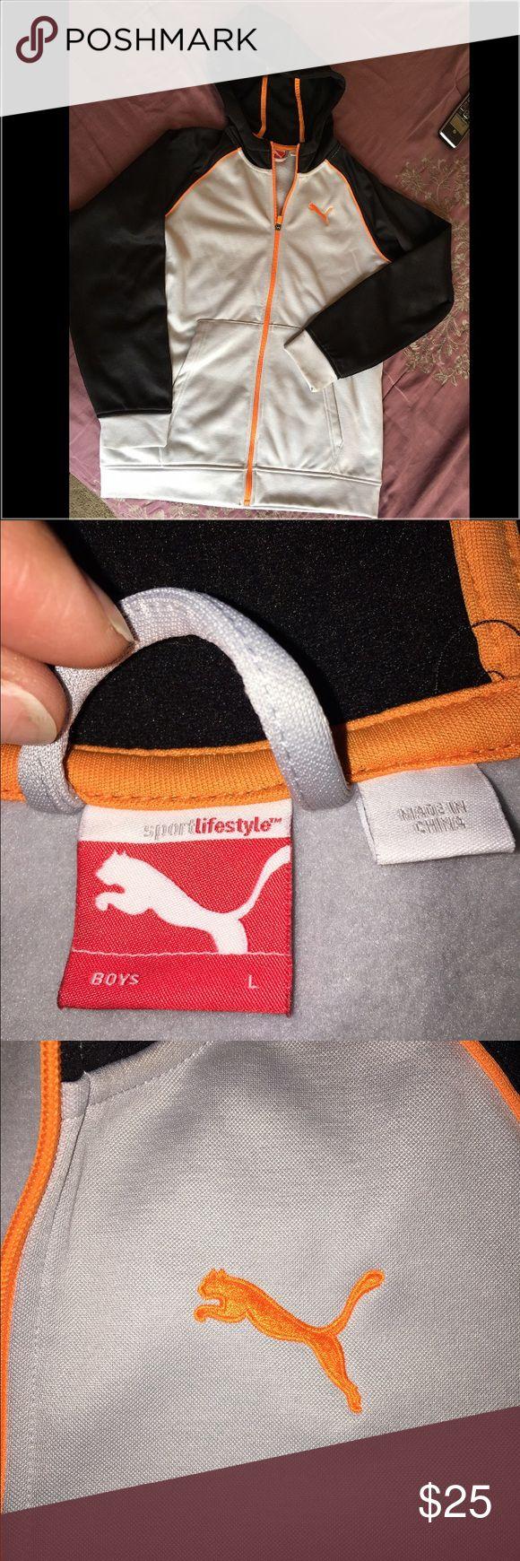 Puma Sweatshirt Puma Lightweight zippered sweatshirt. Gray/Black/Orange. In like-new condition Puma Shirts & Tops Sweatshirts & Hoodies