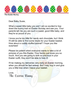 Letter from the Easter Bunny on baby's first Easter!