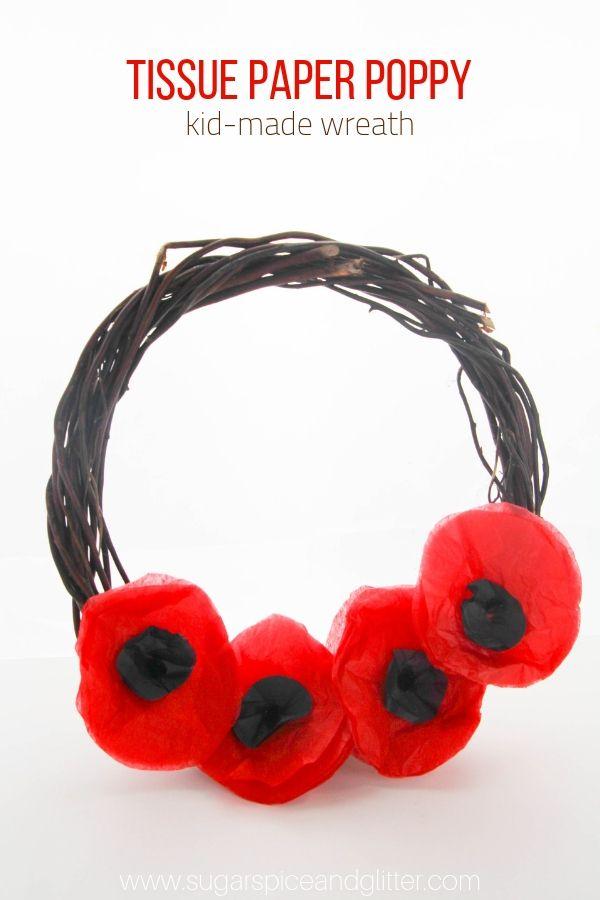 Tissue Paper Poppy Wreath Kids Craft Ideas Pinterest Crafts