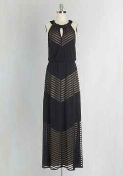Rare and Remarkable Maxi Dress in Lines. Youre renowned for your elegant edge, which you channel when you slip into this marvelous maxi! #black #modcloth