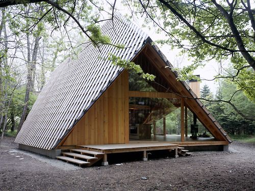 Contemporary take on A-frame. Architect Kengo Kuma's Y-Hütte, in Eastern Japan