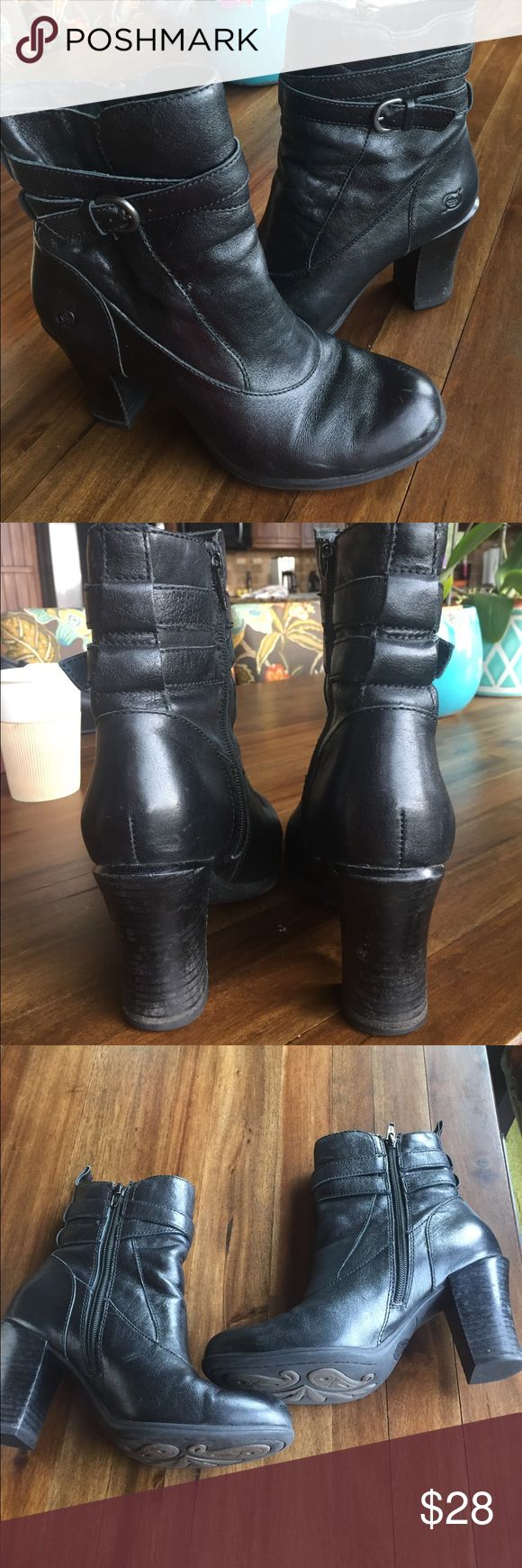 """Born black leather boots with stack heel Cute comfortable black leather Born boots, 3.2"""" heel, wrapped leather strap with buckle, with great born sole. These boots are used with some scuffs/scratches as shown in the pictures. Born Shoes Heeled Boots"""