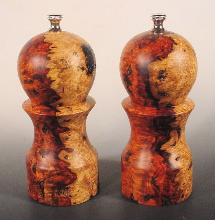 Salt and Pepper Mills made from Amboyna Burl Number 205 and 206 Bryan Tyler Nelson for Nelsonwood by NELSONWOOD on Etsy