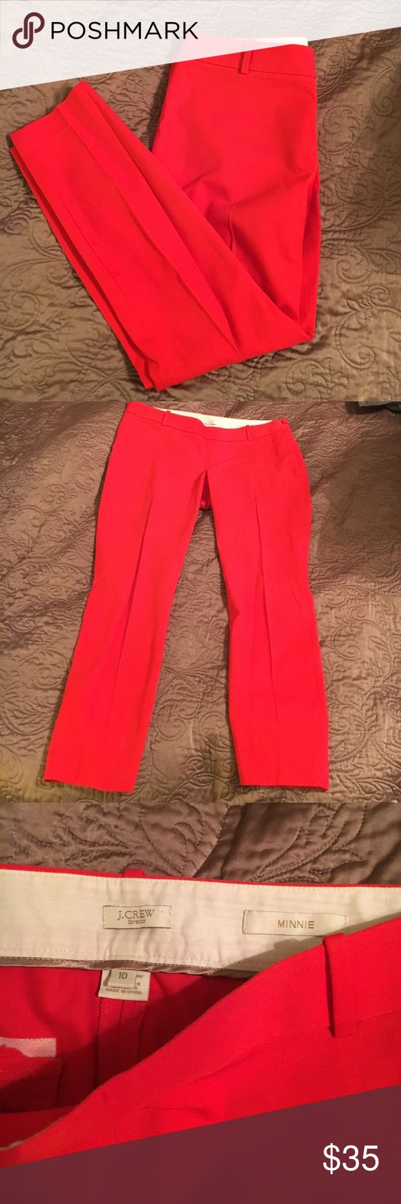 """J Crew Minnie red skinny twill pants size 10 EUC red skinny pants by J. Crew, Minnie style. Size 10. Has side zipper, no front pockets and faux back pockets. Waist across measures 16.5"""", hips 19.5"""", inseam 26.5"""". 95% cotton, 5% spandex J. Crew Pants Skinny"""