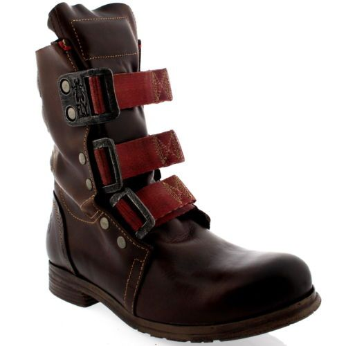 Womens-Fly-London-Stif-Leather-Pull-On-Military-Biker-Buckle-Ankle-Boots-US-5-10