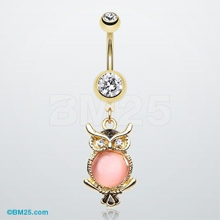 Golden Rose Owl Belly Button Ring
