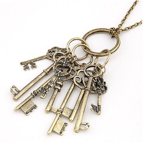 Multi keys Steampunk  Chain Necklaces - Steampunk Funk