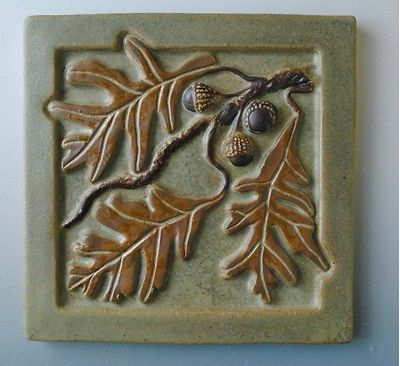 OAK BRANCH ACORNS TILE IN MISSION ARTS & CRAFTS STYLE