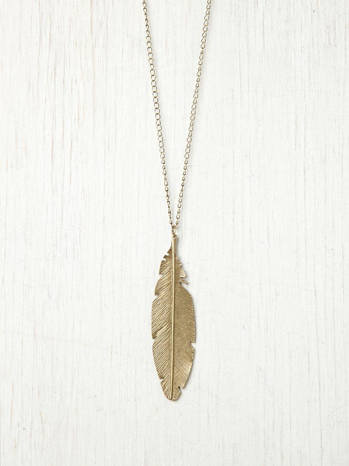 Free People Feather Pendant Necklace at Free People Clothing Boutique