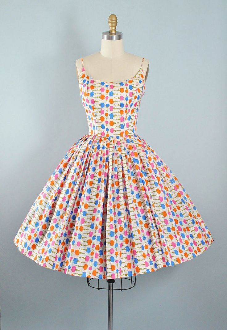 Vintage 50s Dress / 1950s Sundress PINK BLUE by GeronimoVintage