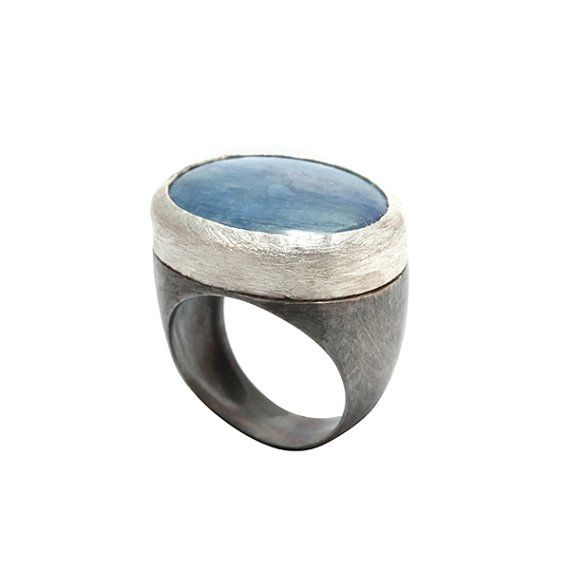 Kynite Ring Chunky Silver Rings Silver Gemstone by mbfjewelry, $204.00