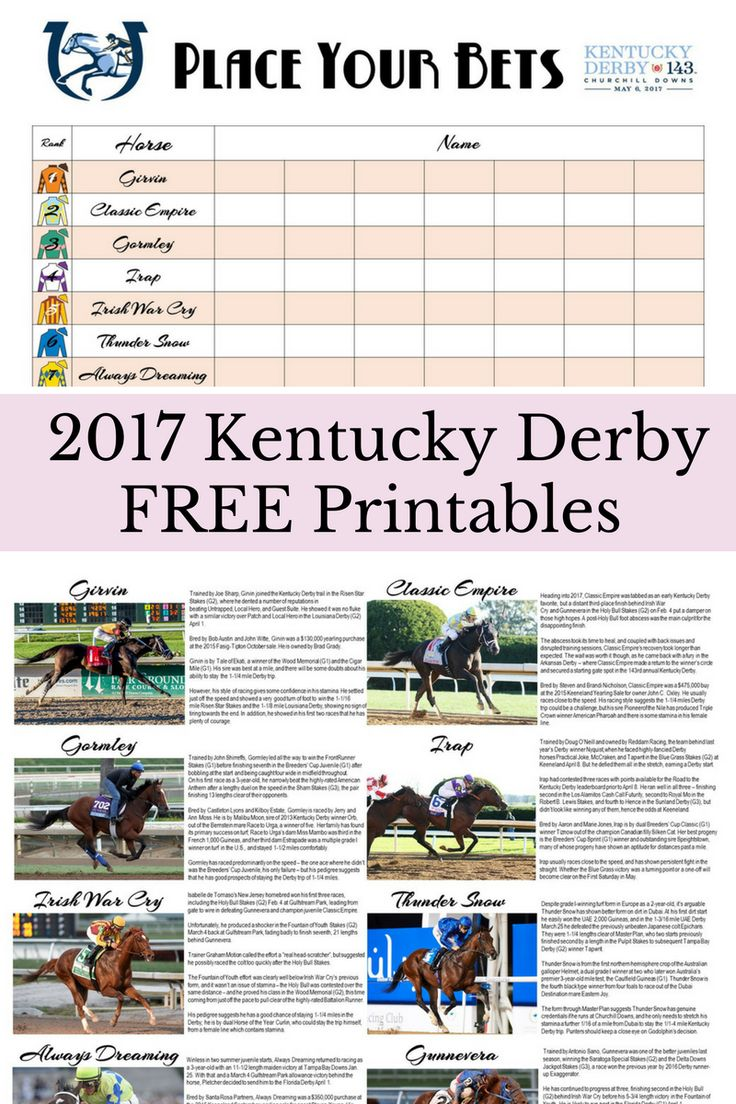 Free Kentucky Derby Betting Printables.  Free printables for Derby betting at home and bios on all the horses. Kentucky Derby Party | Kentucky Derby Printables | Free Derby Printables | How to throw a Kentucky Derby Party