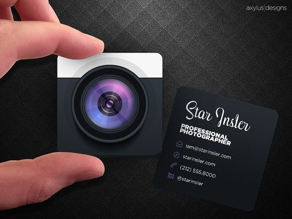 Mini Photographer Business Cards - Realistic Camera - Square Die-Cut Cards - Design and Printing - 2