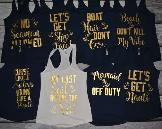 Beach Bachelorette Cruise Tanks Any Saying Mermaid Lets Get Nauti Good Times