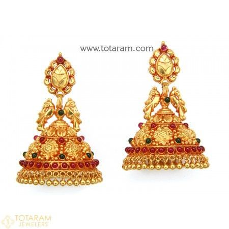 Temple Jewellery - 22K Gold 'Peacock' Jhumkas - 22K Gold Dangle Earrings  - 235-GJH1566 - Buy this Latest Indian Gold Jewelry Design in 31.600 Grams for a low price of  $1,775.99 #GoldJewelleryTemple
