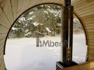 saunafass mit vollem panoramafenster und holzofen timberin holzbadezuber badetonne. Black Bedroom Furniture Sets. Home Design Ideas