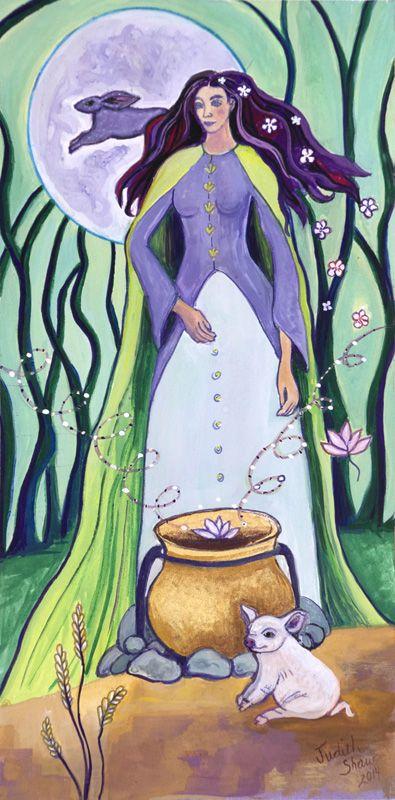 Cerridwen, Celtic Goddess, painting by Judith Shaw