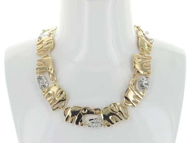 Family Elephant Parade Necklace - A family of Elephants parade about the collar!  A truly unique chain link necklace that comes with matching earrings is sure to be a winner. Available in Silver, 2-Tone, and Gold.