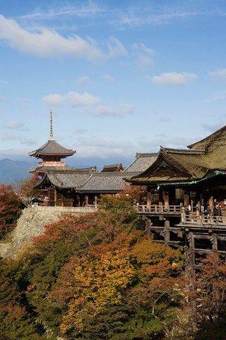 The Kiyomizu-dera temple overlooks Kyoto
