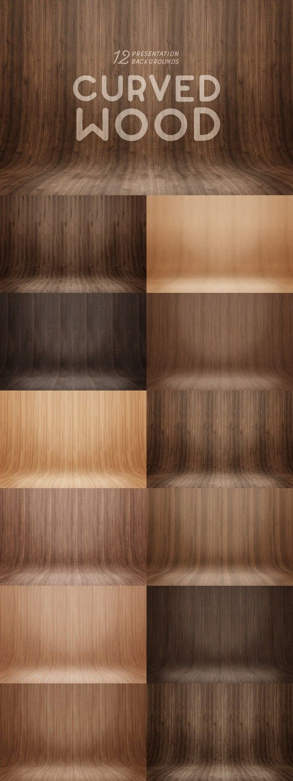 Curved Wood Presentation Backgrounds. Textures. $12.00