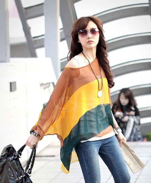 Bohemian Colorful Broad Stripe Print Loose Fit Batwing Sleeve Women's Spring Blouse, AS THE PICTURE, L in Blouses | DressLily.com