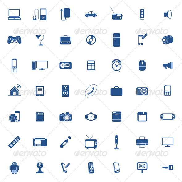 Technology Icon Set  #GraphicRiver         49 Technology icons. Phone, computer, camera, console etc. 100% Re-sizable File includes AI + EPS + JPG -RG…