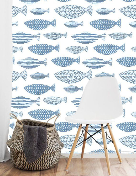 Blue Fish Removable Wallpaper Beach Wall Decor Cabin Etsy Blue And White Wallpaper Bathroom Wallpaper Fish Removable Wallpaper
