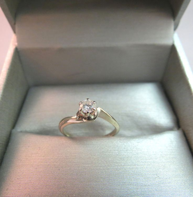 14k White Gold Diamond Solitaire Wedding Engagement Ring .20ct Vintage 1.83 Gram #Unbranded #Solitaire