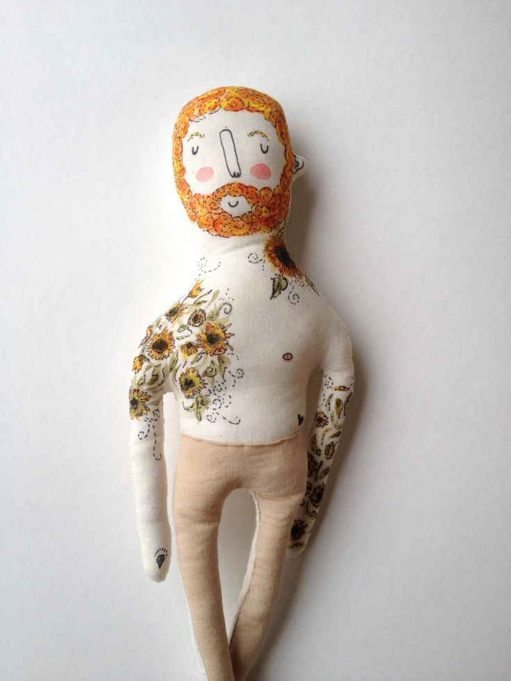 Valentine's Day Sale- Vincent Van Gogh- Sunflowers- Tattoo Sleeve- Plush Doll. $50.00, via Etsy.