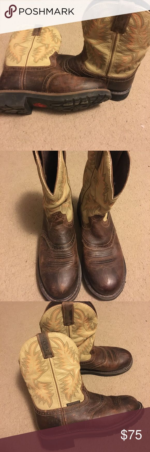 Justin leather work gloves - Boots Justin S Work Boots Oil Resistant Worn Twice Not Even Broke In Yet Still Stiff