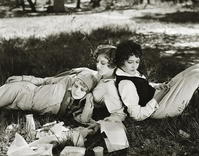 Anita Page, Joan Crawford, and Dorothy Sebastian, taken March 16, 1928. what a picnic!