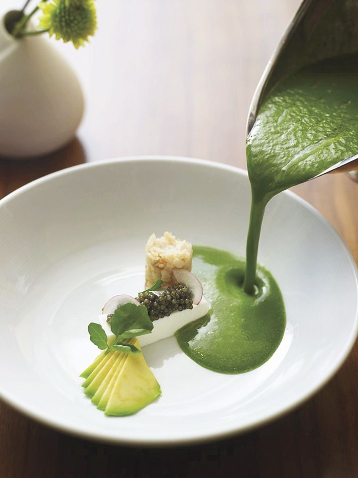 Watercress/Avocado Soup With Greek Yogurt Panna Cotta & American Caviar from John Frasier of Dovetail in New York City