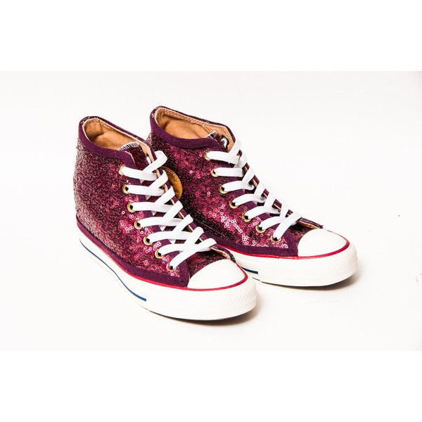 Tiny Sequin Starlight Burgundy Canvas Hidden Wedge Lux Hi Top Sneakers... ($200) ❤ liked on Polyvore featuring shoes, sneakers, tennis sneakers, canvas sneakers, canvas tennis shoes, high top hidden wedge sneakers and high top sneakers