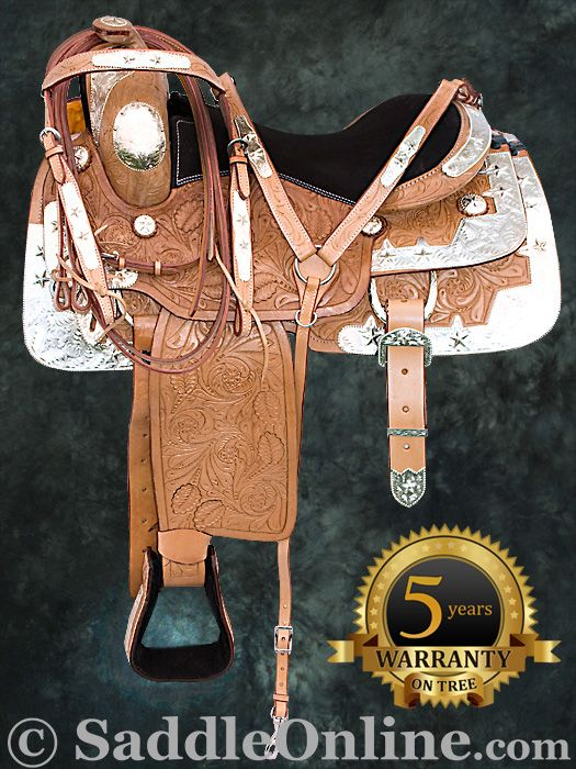 Hand Carved Western Leather Silver Show Horse Saddle 16- Western Horse Saddles - Saddle Online