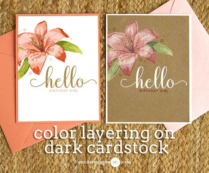 Hi! Today I share a technique for being able to do colorful stamp layering on a dark cardstock. The look is unique and gorgeous!