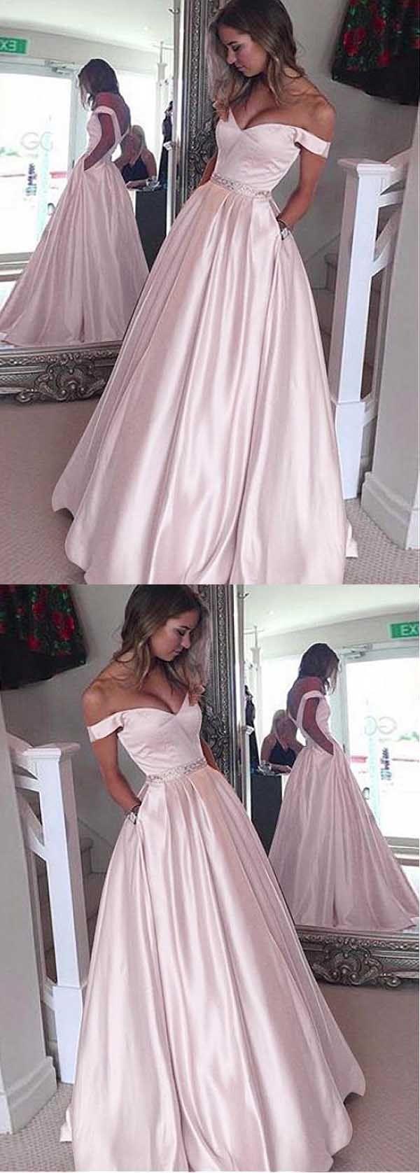 Elegant Satin Off-the-shoulder Neckline A-Line Prom Dresses With Beading PG503