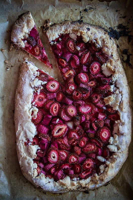 Strawberry Rhubarb Almond Galette (Gluten-Free and Vegan)